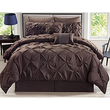 8 Piece Rochelle Pinched Pleat Coffee Comforter Set Queen