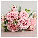 Künstliche Blumen Schöne Rose Pfingstrose Künstliche Seide Blumen Kleine Weiß Bouquet Vasen für Home Party Winter Hochzeit Dekoration Günstige Gefälschte Pflanzen (Farbe : Light pink)