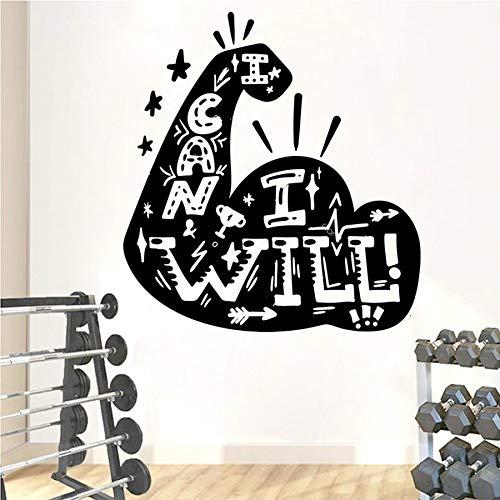 ¿Puedo Fitness? Etiqueta de la pared Fitness Word Vinilo Etiqueta de la pared Fitness Dormitorio Fitness Ejercicio Chica Niño Etiqueta de la pared