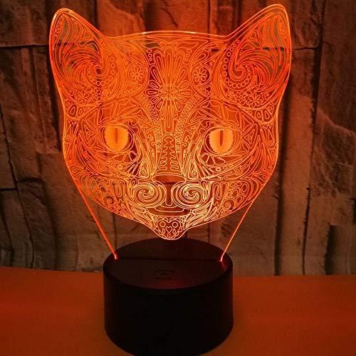 Luz de noche LED ilusión 3D, interruptor táctil de 7 colores Lámpara de escritorio USB para Navidad o decoraciones casa Interruptor táctil Elvis