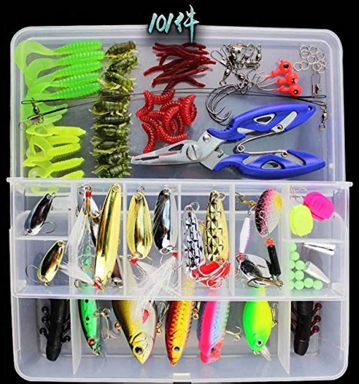 Generic 1pcs Pack 101pcs Multifunctional Box Fishing Lure kit Big Lure Set containing Plastic Soft Metal Fishing Tool Hook Combo White Lure Box