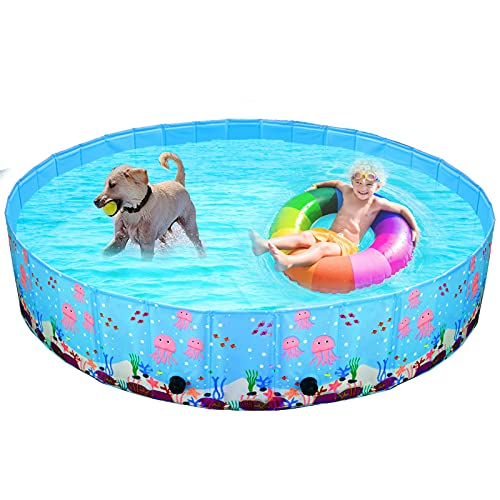 Snagle Paw Dog Pools for Large Dogs, Kiddie Pool Dog Bath Pool for Large Dogs,Non Slip Dog Swimming Pool for Dog Shower,Foldable Dog Pool for Pet,Kids and Baby