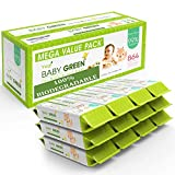 Baby Green - Biodegradable Baby Wipes Unscented – Value Pack (12 Packs of 72) 864 – 99% Pure...