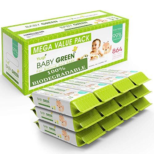 Baby Green Baby Wipes Unscented – Value Pack (12 Packs of 72) 864 –compostable 99% Pure Water Plastic FREE Moist Newborn Diaper Wipes Fragrance Free, Wet Wipes for Babies & Adults Sensitive Skin