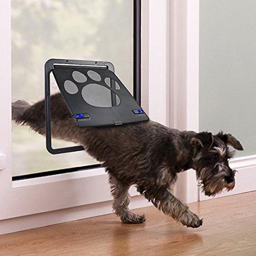 PETLESO Dog Door Screen - Lockable Doggie Door for Screen Door Sliding Door for Small Dogs Cats- Small (Inside - 8.25'×10.5')