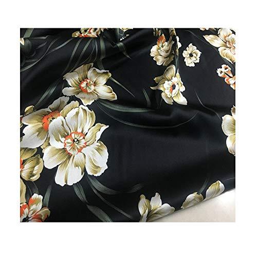 Zijde satijn zwart print patroon stretch maken zomerjurk trouwjurk decoratie beddengoed gordijnen