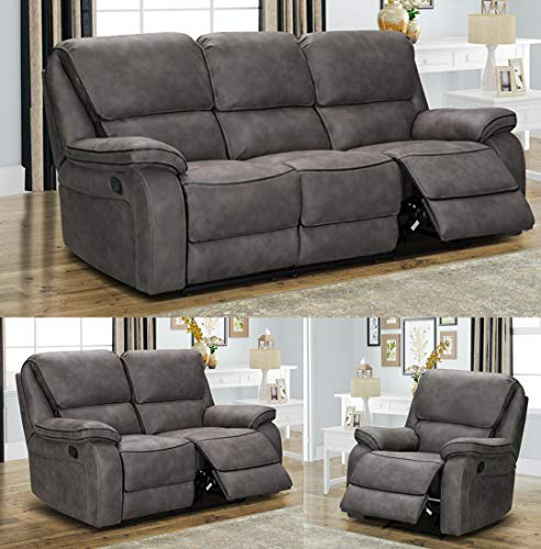 Dante - Monocco - 3 Seater - 2 Seater - Armchair - Manual Recliner - Grey Fabric (3 Seater and armchair)