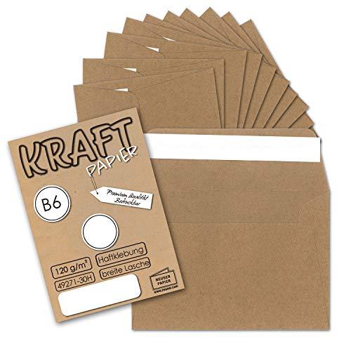 50 Stück I Vintage-Umschläge DIN B6 125 x 178 mm Kraftpapier 120 g/m² braun Recycling Brief-Umschläge Haftklebung I UmWelt by GUSTAV NEUSER®