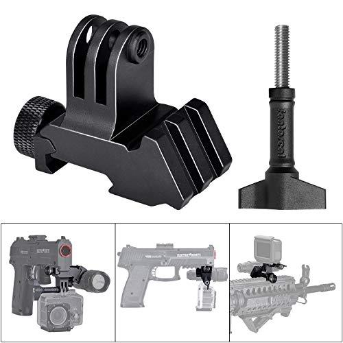 2in1 Hochpräzise Aluminiumlegierung Action Kamera Picatinny Rail Gun Halterung Adapter Kit für GoPro Motion Sport Camcorder DV für AR15 M4 M16 Glock Rifle Carbine Paintball Airsoft Hunting Rec