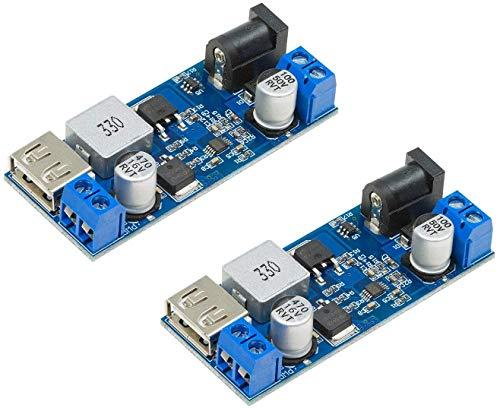 ZHITING DC 6 V, 9 V, 12 V, 24 V a CC 5 V 5 A Buck convertidor módulo, 9 – 36 V paso abajo a USB 5 V transformador doble salida regulador de voltaje [2 unidades)