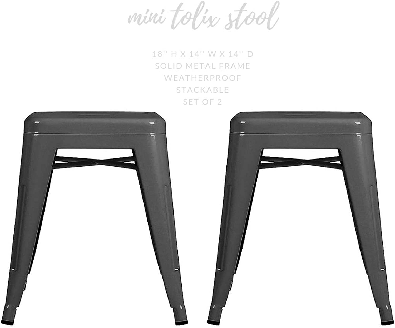 Take Me Home Furniture Mini Tolix Stool Backless Metal, Industrial Style Stool 18  High in Metal (Grey), Industrial Tolix Metal Set of 2, Perfect for Kids