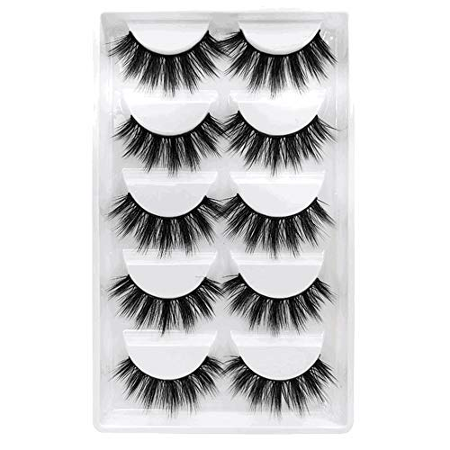 False Eyelashes, 3D Faux Mink Fake Eyelashes Handmade Dramatic Thick Crossed Cluster False Eyelashes Black Nature Fluffy Long Soft Reusable(5 Pairs)