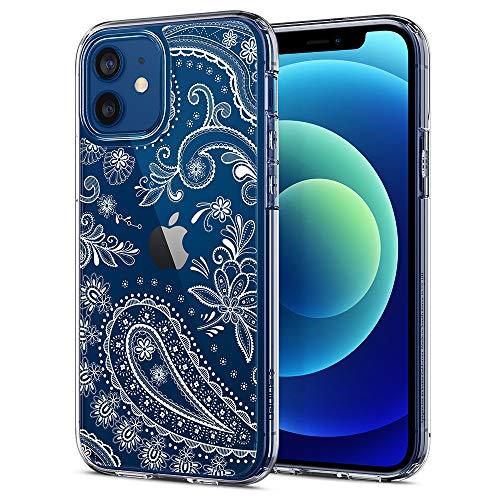 CYRILL de Spigen Cecile Funda Compatible con iPhone 12 Pro y iPhone 12 Suave TPU Bumper y Transparente Duro PC Case - Mandala Floral