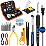 Soldering Iron Kit - 60W 16-in-1 Portable LED Digital Display Adjustable Temperature (180-500℃) Electric Soldering Iron Gun Kit for Electronics Premium Welding Tools with ON/OFF Switch Sucker