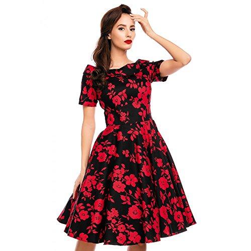 Dolly and Dotty Damen Kleid Darlene Floral Carmen Dress (M, Schwarz/Kirschrot)