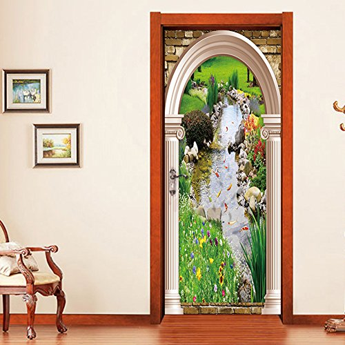 Etiqueta De La Puerta PVC Impermeable Carpa 3D Agua De Manantial Pegatinas De Pared Decoración De Hogar 95 x 215 cm