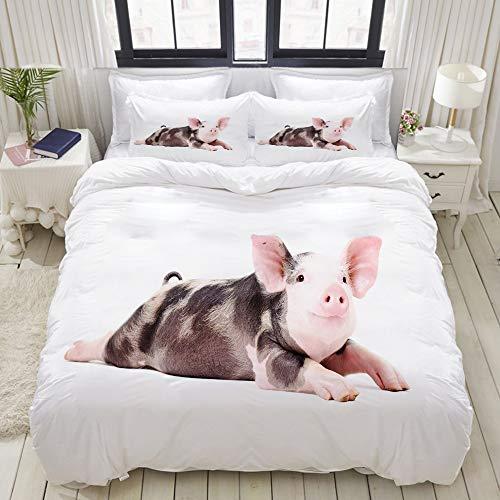 ALLMILL Bettwäsche-Set, Mikrofaser,Lustiges kleines Schwein,1 Bettbezug 135 x 200cm+ 2 Kopfkissenbezug 80x80cm