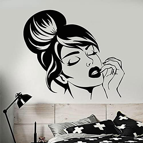 Sexy hermosa chica cara peinado maquillaje pegatinas vinilo decoración Interior extraíble Mural pared calcomanía tienda de moda papel tapiz 47x42cm