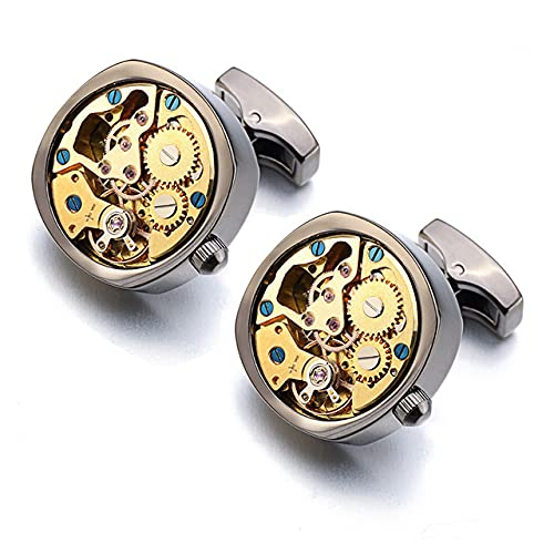 DTKJ Gemelli del movimento dell'orologio, adatti per il gemello da uomo in acciaio inox non rimovibile in acciaio inossidabile a steampunk