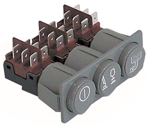 Elframo drukschakelaar voor vaatwasser D40, D40i, D35, D40i-BT-BA, CE24 250V 2CO/2CO/2CO/2CO grijs inbouwmaat 28,5x77,5mm vergrendelend 16A