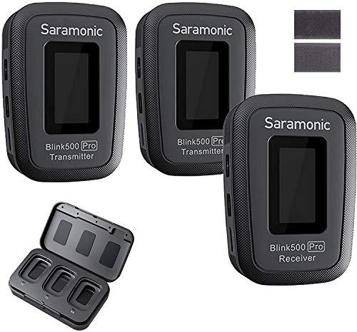 Saramonic Blink500 PRO B2 Micrófono, sistema de micrófono inalámbrico Lavalier de 2,4 GHz, modo de grabación mono/estéreo, sonido de calidad de difusión, para cámaras DSLR de smartphone (TX+TX+RX)