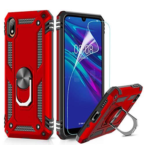 LeYi Hülle für Huawei Y5 2019 / Honor 8S Handyhülle,360 Grad Militärische Rüstung Cover TPU Magnetische Bumper Schutzhülle mit HD Folie Schutzfolie für Case Huawei Y5 2019 Handy Hüllen Red