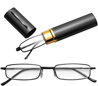 Jtj Reading Glasses Metal Spring Foot Portable Presbyopic Glasses with Tube Case +1.00D(Black) (Color : Brown)