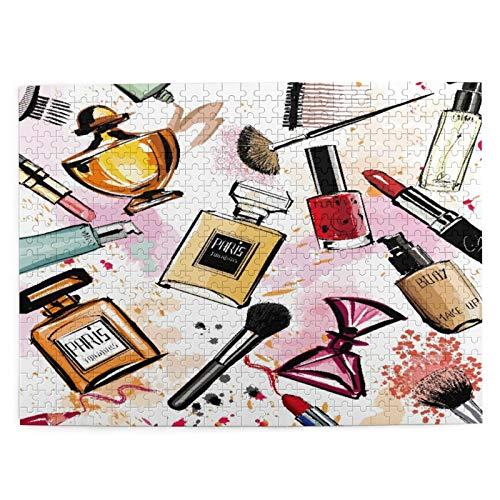 Rompecabezas de 500 piezas,colección de cosméticos y perfumes de acuarela,ilustraciones de juegos de rompecabezas para familias grandes para adultos y adolescentes