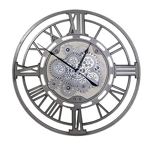 VBARV Große Retro-Industrieuhr aus Metall, Wanduhr mit rundem Zahnrad, Metallfarbenrahmen, kreatives Rolling Gear, leicht zu lesen, ideal für Moderne Wohnkultur