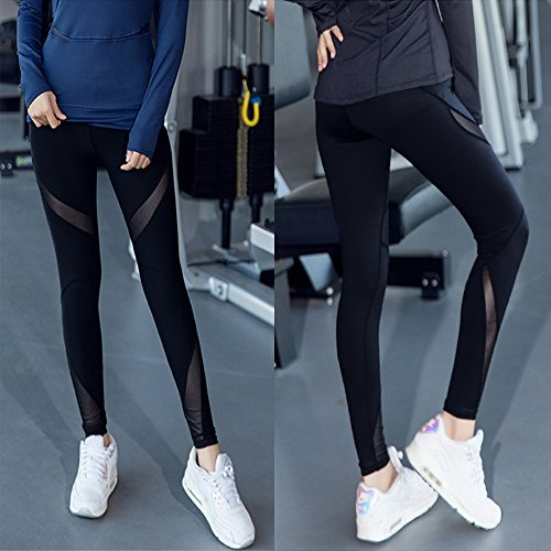 FITTOO Women Mesh Patchwork Fitness Yoga Pants Running Gym Workout Leggings, Black #1, M