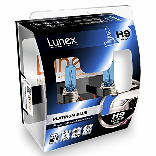 LUNEX H9 PLATINUM BLUE Ampoules Halogenes Phare Bleu 709 12V 65W PGJ19-5 4700K duobox (2 pièces)