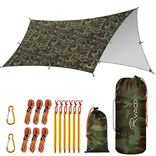 RYACO Hammock Rain Fly Tent Tarp 350cm x 290cm, Waterproof Anti-UV Oxford...