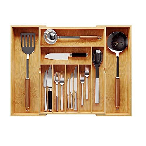 BAMEOS Utensil Drawer Organizer, Cutlery Tray Desk Drawer Organizer Silverware Holder Kitchen Knives Tray Drawer Organizer, 100% Pure Bamboo Expandable Adjustable Cutlery