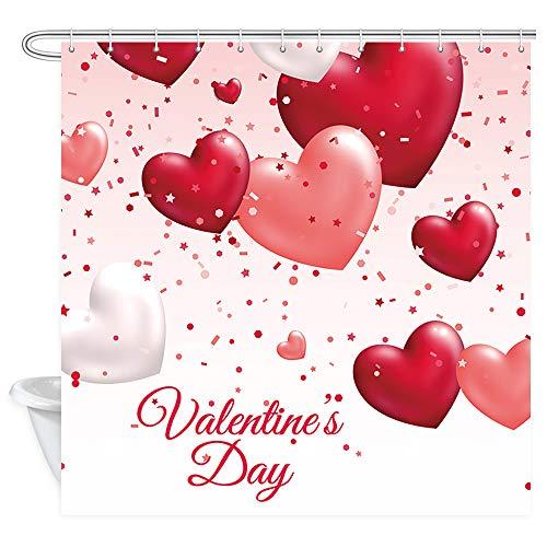 DYNH Valentinstag-Duschvorhang, rot-rosa Herzförmige Luftballons & Konfetti-Duschvorhänge, Polyester-Stoff, Duschvorhang für Badezimmer, 12 Stück Haken, 177,8 x 177,8 cm