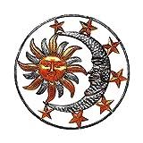 Decoración de escultura de arte de pared de estrella de sol y luna de metal grande, escultura de placa de pared de cara de sol, estatuas, decoraciones colgantes para interior y exterior,jardín de casa