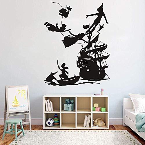 Calcomanía De Pared Boy Dream, Calcomanías De Dibujos Animados, Decoración De Barco Pirata, Pegatina De Pared Para Habitación De Niños, Calcomanías De Vinilo A Prueba De Agua-73X57Cm