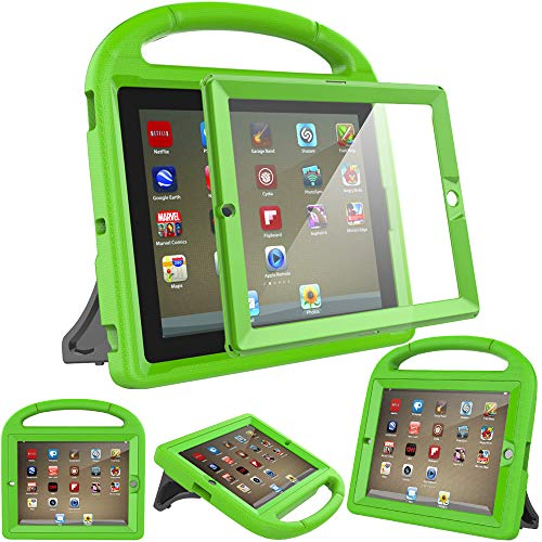 Surom Kids Case with Built-in Screen Protector,Shockproof Handle Stand Case for iPad 2 3 4,Green