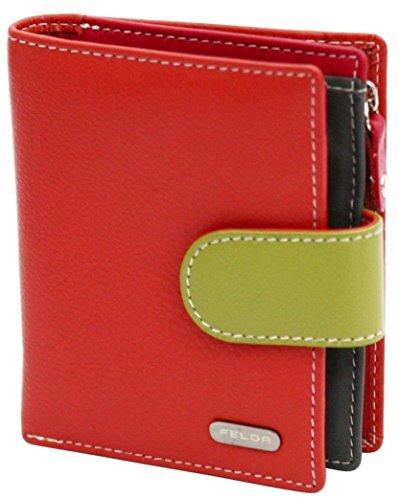 Damen Geldbörse aus Echtleder mit 10 Fächern - RFID-Blocker - Orange & Grün