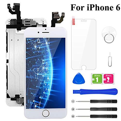 BuTure Kompatibel für iPhone 6 Display Weiß Ersatz LCD Touchscreen Digitizer Vormontiert mit Home Button, Hörmuschel, Frontkamera Glas und Reparaturset Komplettes Werkzeug
