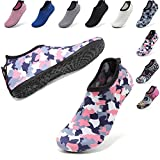 VIFUUR Womens Mens Water Sport Shoes Adjustable Aqua Socks Surf Beach Pool Shoes with Elastic Camouflage Pink 42/43