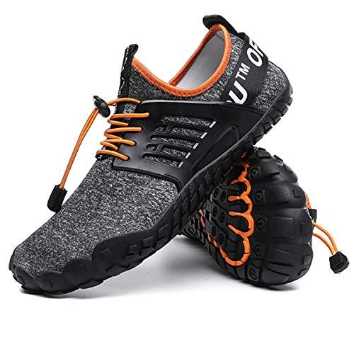 Aliwendy Men's Minimalist Trail Barefoot Shoes Quick Dry Wide Toe Box Fishing Beach Hiking Water Shoes(Orange 43)