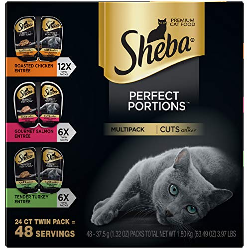 SHEBA PERFECT PORTIONS Soft Wet Cat Food Cuts in Gravy Roasted Chicken Entrée,...