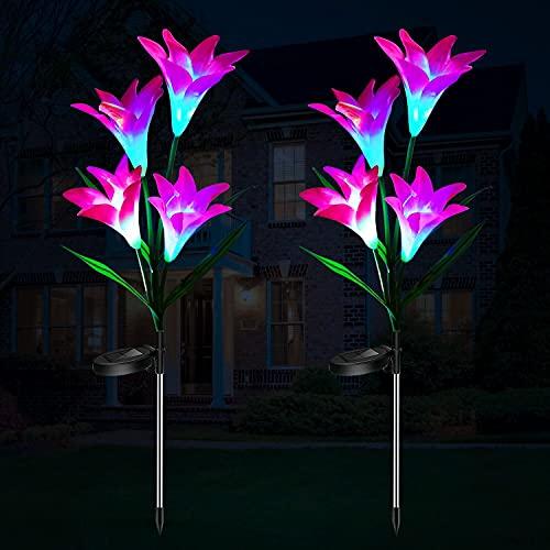 Luces Solares LED Exterior Jardin, ILYLFY Plantas Artificiales Decorativas Jardineras Exterior Terraza Decoracion Jardin Exterior Flores Artificiales Decoracion Luz Solar Jardin Luces LED de Colores