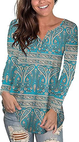 Uusollecy Camiseta de manga larga para mujer, cuello redondo, encaje, monocolor, casual, suelta, talla grande, D-azul claro, XXXXL