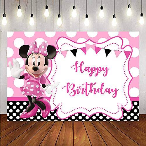 Rosa Minnie Mickey Mouse telón de fondo fondo de dibujos animados cumpleaños postre decoración de mesa cartel de fondo para niños fiesta cumpleaños decoración de la pared