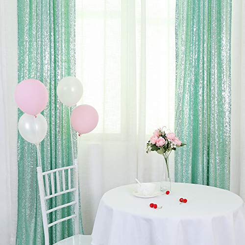 TRLYC 2FTX8FT Christmas Mint Sequin Curtain Panel for Father'Day Wedding Party