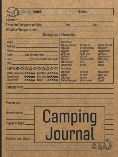 Camping Journal: Family RV Travel Logbook / Memory Book For Adventure Notes / Campground Notebook / Caravan Road Trip Diary / Summer Campsites Log Book / Camp Planner Gift Idea for Camper