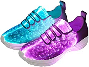 DIYJTS LED Light Up Shoes for Men Women, Light Fiber Optic LED Shoes Luminous Trainers Flashing Sneakers for Festivals, Christmas, Halloween, New Year Party (White, Numeric_8)