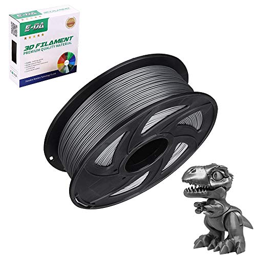 E-DA PLA 3D Printer Filament, PLA Filament 1.75mm 1KG, With High Strength and Better Toughness, 3D Printing Filament for 3D Printers, Dimensional Accuracy +/- 0.03mm, (Silk Silver)