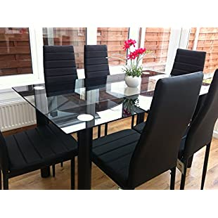 STUNNING GLASS BLACK DINING TABLE SET AND 6 FAUX LEATHER CHAIRS...:Greatestmixtapes